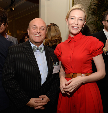 BEVERLY HILLS, CA - JANUARY 11:  BAFTA board member Nigel Daly (L) and actress Cate Blanchett attends the BAFTA LA 2014 Awards Season Tea Party at the Four Seasons Hotel Los Angeles at Beverly Hills on January 11, 2014 in Beverly Hills, California.  (Photo by Kevork Djansezian/BAFTA LA/Getty Images for BAFTA LA)