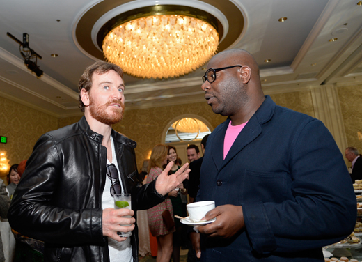 BEVERLY HILLS, CA - JANUARY 11:  Actor Michael Fassbender (L) and director Steve McQueen attend the BAFTA LA 2014 Awards Season Tea Party at the Four Seasons Hotel Los Angeles at Beverly Hills on January 11, 2014 in Beverly Hills, California.  (Photo by Kevork Djansezian/BAFTA LA/Getty Images for BAFTA LA)