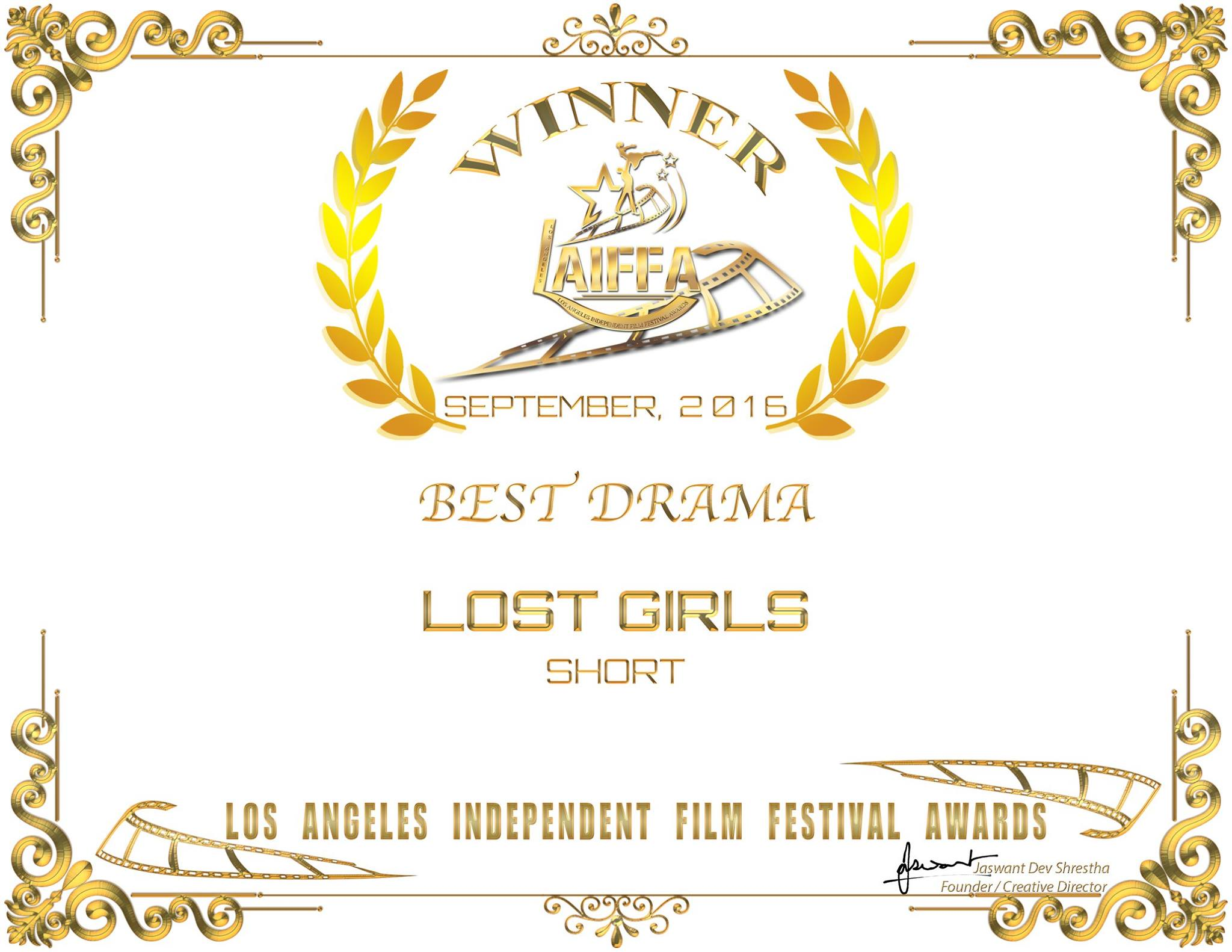 "Lost Girls wins ""Best Drama"" and ""Best Ensemble Cast"" Awards"